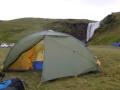 Mein Zelt vorm Skógafoss