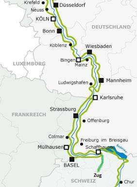 Von Zug nach Düsseldorf am Rhein entlang From Zug (ch) to Düsseldorf (de) along the Rhine RIver